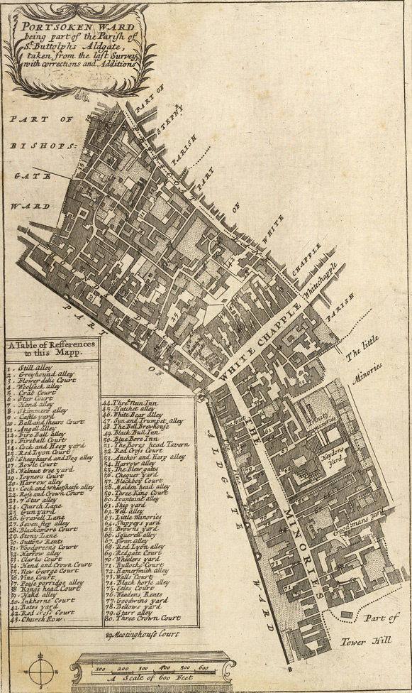 Portsoken ward being part of the parish of St Buttolphs Aldgate, taken from the last survey, with corrections and additions (1720)
